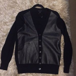 J.Crew Leather Front Cardigan